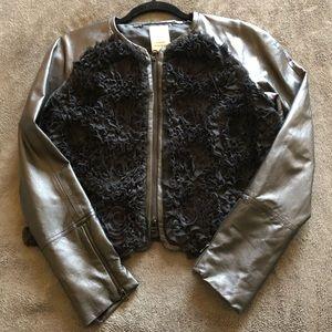 Robert Rodriquez leather w silk flower jacket